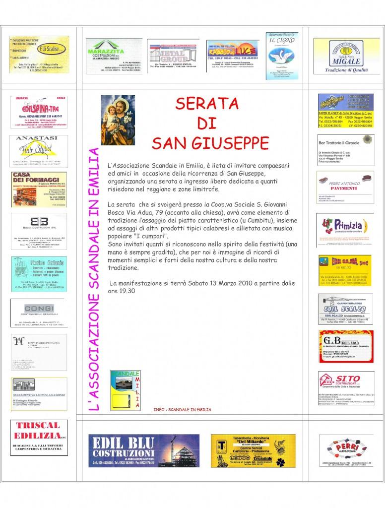 Serata San Giuseppe a Rweggio Emilia.